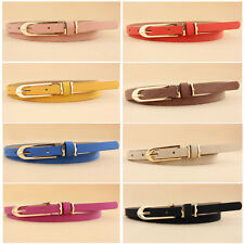 Beauty Women girl Cross Buckle Cany Color Thin Skinny PU Leather Belt Waistban