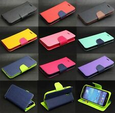 Dual Color Deluxe Wallet Leather Flip TPU Case Stand For Samsung Galaxy Phone