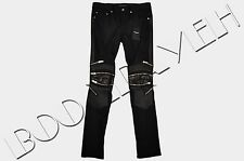 SAINT LAURENT PARIS Authentic New Black Cotton Leather Zip Detailed Biker Jeans