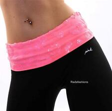 Victoria's Secret Love PINK Yoga Sequin Bling Cropped Leggings Sweat Pants Neon