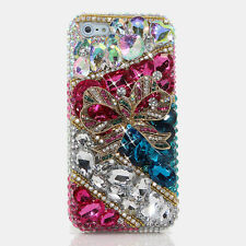 iPhone 6 6S / 6S Plus 5S Bling Crystal Case Cover Pink AB Teal Bow Faceplate