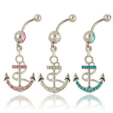 One Rhinestone Anchor Dangle Button Barbell Belly Navel Ring Bar Body Piercing