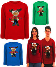 Womens Ladies Mens 3D Christmas Jumpers, Sweater,Singing & Dancing  Rudolph Toy