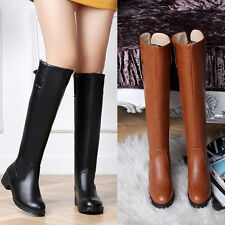 Sexy New Women's Leisure Low Heel Comfort Boots Knee High Shoes US CHH353