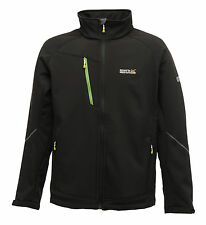 REGATTA DAVIES MENS SOFTSHELL JACKET BLACK WATER REPELLENT RML080