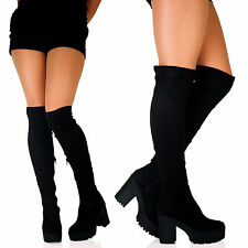 B1H NEW WOMENS OVER THE KNEE THIGH HIGH CHUNKY PLATFORM BLOCK HEEL LADIES BOOTS