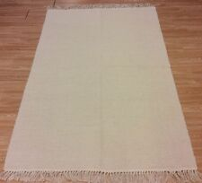 Natural Cream Plain Eco Friendly 100% Cotton Washable Rug Durrie XS Large 50%OFF