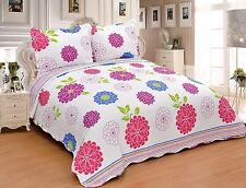 3 Pcs Floral Print Microfiber Quilt Bedspread Coverlet Set King Queen Full Twin