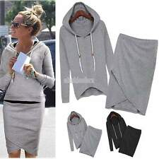 2 Pcs Women Tracksuit Hoodie Sweatshirt +Irregular  Skirt Dress Casual Suit 0493