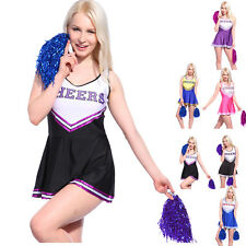 Girls Glee Cheerleader Clothes Outfit Ladies Cheerleading Costumes + Pom Poms