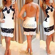 XD# New Sexy Women Lace Backless Bodycon Cocktail Party Evening Short Mini Dress