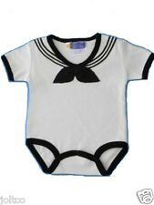 #701 1pc White Sailor Suit OutfitBodysuit  Infant / Baby / Nautical 0-12 mo
