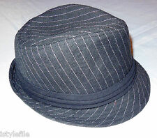 MACAHEL Pinstripe Fedora Trilby Hat Black White Fully Lined  One Size  RRP £20