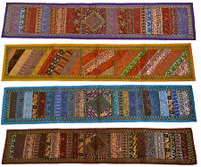 "INDIAN Tapestry Wall Hanging Table Runner 58"" 147cm Recycled Sari Lace Long Thin"