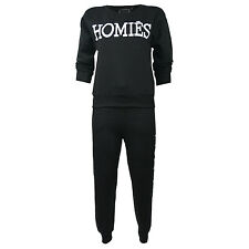 Womens Homies Print Fleece Top and Jogging Bottom Full Tracksuit Ladies Size