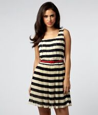 ♥ LIPSY ♥ BLACK & CREAM PLEATED SZ 8-16 DR05719 PARTY DAY CLUB DRESS & RED BELT