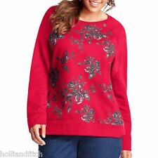 New JMS JUST MY SIZE Red Fleece Sweatshirt Pullover Tunic Black & Gray Roses