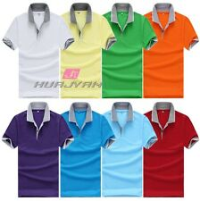 Male Boys Men's Golf Lapel Shirts Cotton Sports T-shirt Short Sleeve Casual Tops