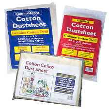 Large 12' x 9' Heavy Duty Dust Sheet Packs 100% Cotton DIY Twill Stairway Calico