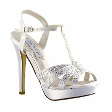 NEW 2015 Andie Dyeable White Satin AB Rhinestone Prom Bridal High Heel Shoe