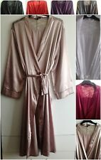 LADIES LONG SATIN & LACE DRESSING GOWN/ROBE IN UK SIZES - 8-26