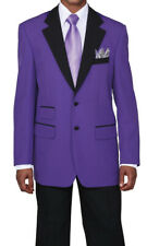 Men's 2pc Poplin Dacron Two Button Fashion Suit 7022 Solid Purple/Black