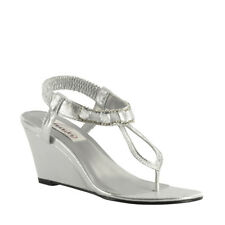 Dyeable White Satin Silver Champagne Mila Prom Bridal Wedge Sandal Women's Shoes