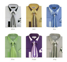 Men's Cotton Blend French Cuff Dress Shirt with Tie and Handkerchief #34