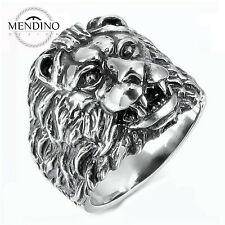 US Size 8-12 MENS 316L Silver Lion Stainless Steel Rings