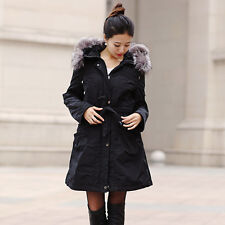 3/4 Length Parka with Sheared Rabbit Fur Liner and Silver Fox Fur Trimmed Hood