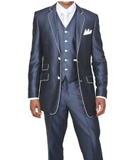 Men's 3pc Slim Fit Wool Feel Two Button Suit w/ Matching Vest 5702V1 Navy