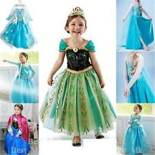 Disney Frozen Elsa/Anna Princess Kids Costume Fancy Party Dress/Wigs/Crown Tiara