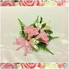 WEDDING FLOWERS/PROM PIN-ON LADIES CORSAGE FOAM TRIPLE ROSE ANTIQUE PINK & IVORY