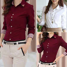 UK Size 6 8 10 12 14 New Fashion Women's  OL Work Long Sleeve Tops Blouse