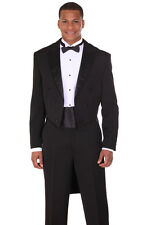 Men's 2pc Long Tail Tuxedo Poly Gabardine Suit T505 Black and White