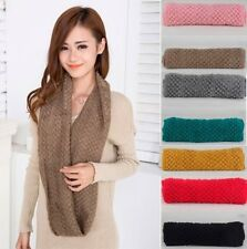 New Winter Women Warm Infinity 2 Circles Cable Knit Cowl Neck Long Scarf Shawl