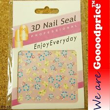 3D Nail Art Seal Beautiful Flowers Nail/Toe Stickers Pack Party&Ladies Gift 1-21