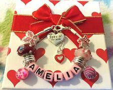 Personalised girls Ladies pink letters Luxury charm bracelet red gift box
