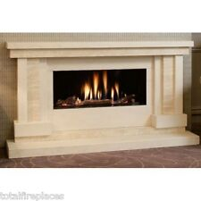 Arcadia Compact Limestone & Travertine Fireplace & Glass Fronted HE Gas Fire