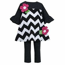 Bonnie Jean NWT 18 M 2T 3T 4 5 6 6X Pink Flower Chevron Tunic Dress Leggings Set