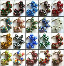 50pcs Wholesale Lampwork Murano Glass Beads Fit European Bead Charm Bracelet