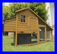 "Montagu 204cm/6ft 7"" Deluxe Chicken Coop Rabbit Hutch Hen House Poultry Ark Nest"