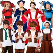 Boys Girls Tudor Victorian Book Week Fancy Dress Costumes Kids Child Outfit