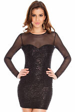 Wow Sexy Short Party Dress Black Cocktail Red Shimmer Sequin Dress UK 10-14