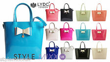 Womens Designer LYDC Patent Faux Leather Bow Large Handbag Shoulder Tote Bag New