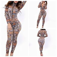 Fashion Womens Retro Printed Stretch Bodycon Rompers Trouser Jumpsuits Clubwear