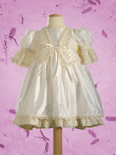 Cassiani Couture Isabella 100% Silk Short Victorian Baptism Christening Dress