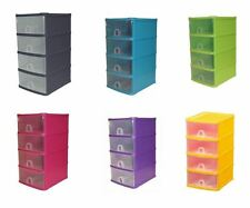 Handy 4 Drawer Tower Storage Unit Pull Out Draws A5 Desktop Drawer Store System