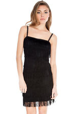 BLACK  FLAPPER  DRESS FRINGED GATSBY EVENING COCKTAIL PARTY 1920s 20s 30s