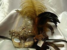 Renaissance Elegant Ostrich Feather lace Masquerade Mask Costume Prom Ball Party